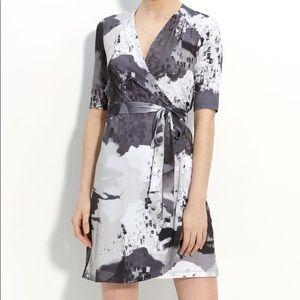 Komarov Gray Watercolor Pattern Wrap Dress
